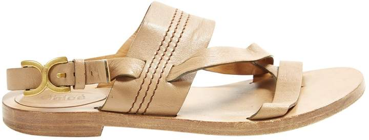 Chloé Brown Leather Sandals