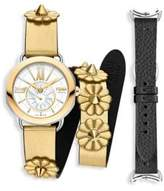 Fendi Selleria Set White Mother-Of-Pearl Leather Strap Watch