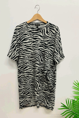 Belle-Modelle - Zebra Crossover Short Sleeve Tunic - S/M