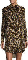 MICHAEL Michael Kors Leopard-Print Tie-Neck Dress, Caramel