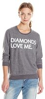 Chaser Women's Diamonds Love Me Graphic Crew Neck Long Sleeve Panel Tee
