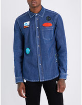 Kenzo Badge-embroidered Slim-fit Denim Shirt