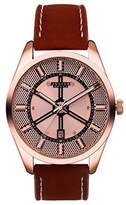 Julius JAH-087B Men's Rose-Gold Tone Calendar Waterproof Watch with Brown Leather Band