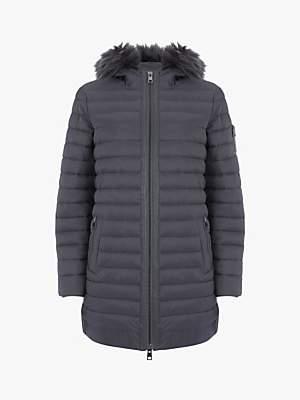 Mint Velvet Hooded Padded Parka Coat, Grey