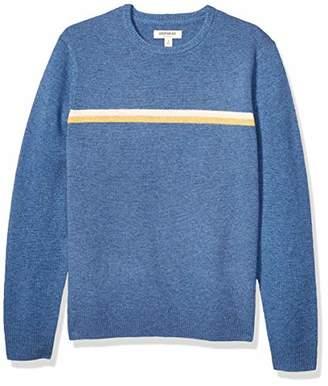 Goodthreads Lambswool Stripe Crewneck Sweater Red Navy Chest, XXXL