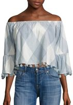 Tularosa Alexa Pom-Pom Off-The-Shoulder Cropped Top