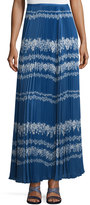 Self Portrait Apparel Pleated Flower Spell Maxi Skirt, Cobalt Blue/Cream