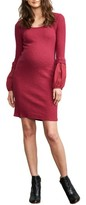 Maternal America Women's Poet Sleeve Ribbed Maternity Dress