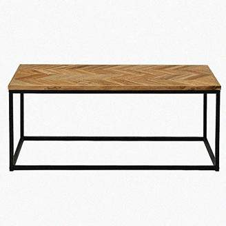 Romatlink Classic Design Modern Wood Open Rectangle Coffee Accent Table Living Room Rustic Wood Coffee Table Open Sides Adds Visual Space Metal Frame