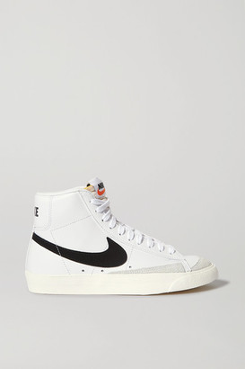 Nike Blazer Mid Suede-trimmed Leather High-top Sneakers - White