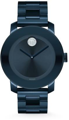 Movado BOLD Crystal & Blue Stainless Steel Bracelet Watch