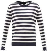 Allude Ruffle-cuff Striped Knit Sweater - Womens - Navy Stripe