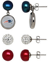 Honora NFL Set of 3 Stainless Stud Earrings with Charms