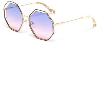 Chloé 'Poppy' octagon cutout metal frame sunglasses