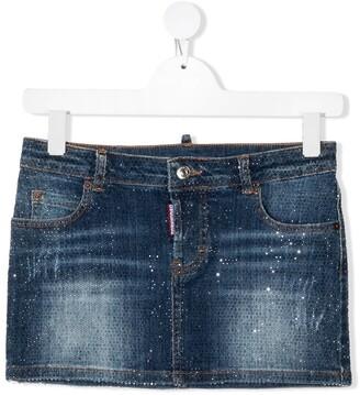 DSQUARED2 TEEN rhinestone-embellished denim skirt
