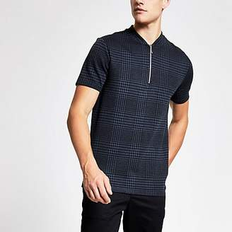River Island Navy check zip neck slim fit polo shirt