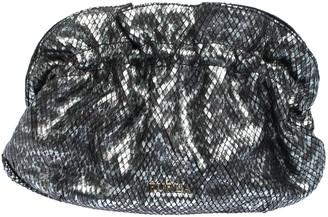 Furla Metallic Grey Snakeskin Effect Leather Ruffle Clutch