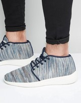 Pull&bear Trainers In Blue With Knitted Stripes