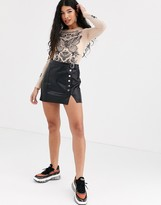 Bershka faux leather mini skirt with button detail in black