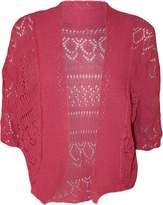 FashionMark Plus Size Women's Crochet Knitted Shrug Cardigan (Navy)