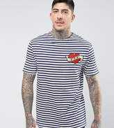 Reclaimed Vintage Revived Striped T-shirt With Heart Patch