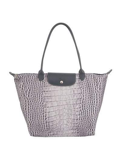 Longchamp Le Pliage Croco Large Shoulder Tote Bag