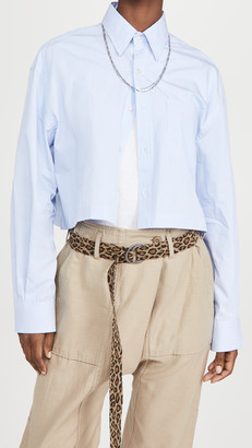 R 13 Oversized Cropped Button Up Shirt