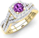 DazzlingRock Collection 1.55 Carat (ctw) 14K White Gold Amethyst & White CZ Bridal Engagement Ring Set 1 1/2 CT (Size 5)