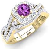 DazzlingRock Collection 1.55 Carat (ctw) 14K Yellow Gold Amethyst & White CZ Bridal Engagement Ring Set 1 1/2 CT (Size 9.5)