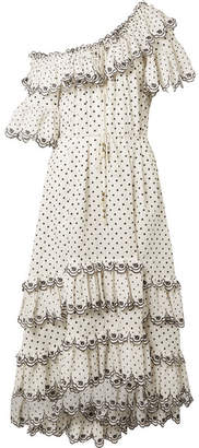 Zimmermann Jaya Off-the-shoulder Tiered Embroidered Linen Midi Dress - Off-white
