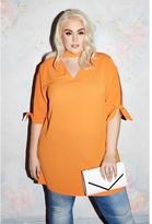 Quiz Curve Orange Choker Detail Tie Sleeve Tunic Dress