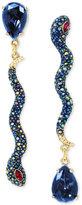 Betsey Johnson Gold-Tone Pavé Snake and Blue Stone Mismatch Earrings
