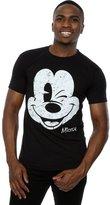 Disney Men's Mickey Mouse Distressed Face T-Shirt XXX-Large Black