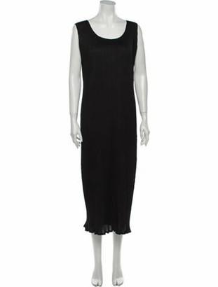 Pleats Please Issey Miyake Scoop Neck Long Dress Black