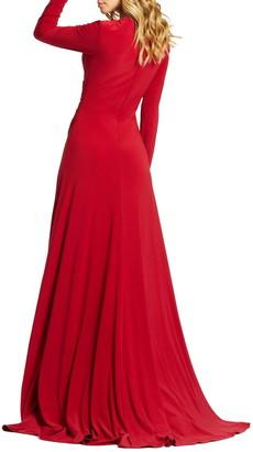 Mac Duggal Long Sleeve V-Neck Side Slit Gown