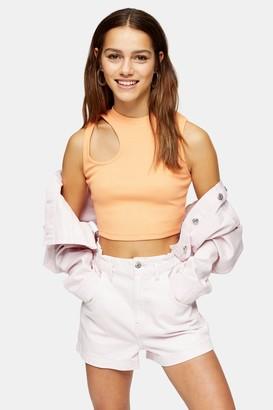 Topshop Womens Petite Orange Asymmetric Cut Out Top - Orange