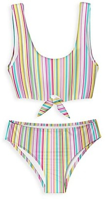 Stella Cove Little Girl's & Girl's 2-Piece Rainbow Stripe Bikini Set