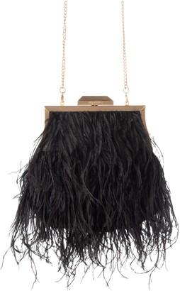 Olga Berg Ostrich Feather Embellished Clutch
