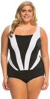Longitude Plus Size Colorblock Faux Plunge Tank One Piece Swimsuit 8138667