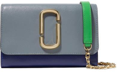 Marc Jacobs Snapshot Color-block Textured-leather Shoulder Bag - Gray
