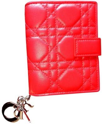 Christian Dior Lady Red Leather Wallets