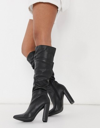 Public Desire Yours black slouchy knee boots in black