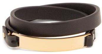 Bottega Veneta Double Wrap Id Tag Leather Bracelet - Mens - Black