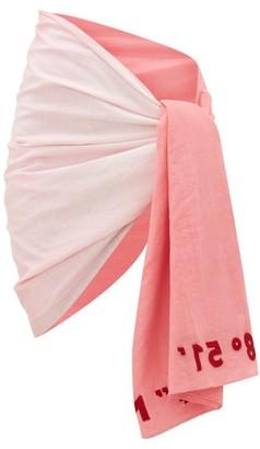 Kilometre Paris - Embroidered Gradient Cotton-khadi Sarong - Pink White