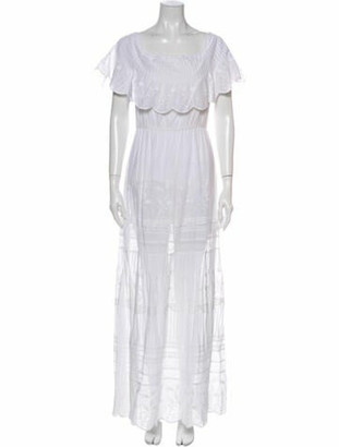 Alice + Olivia Scoop Neck Long Dress White