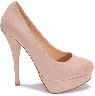 PeepToe Linzi Truffle Collection Nude Faux Suede Peep-Toe Platform High Heels