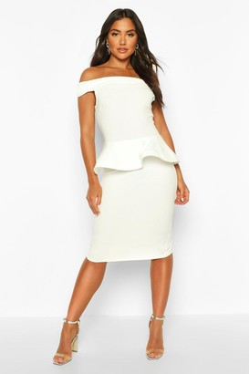 boohoo Bardot Peplum Detail Midi Dress