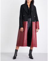 Loewe Double-breasted satin and leather coat
