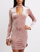 Charlotte Russe Velvet Mock Neck Cut-Out Bodycon Dress