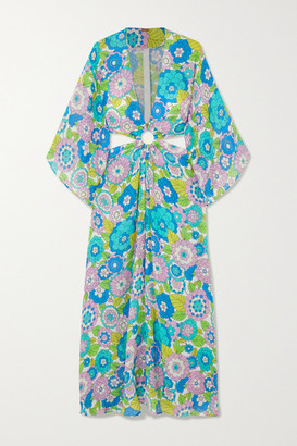 Dodo Bar Or Shelly Cutout Floral-print Cotton-voile Maxi Dress - Turquoise